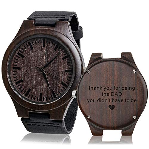 Personalized Men's Engraved Wood Watches Customized Natural Handmade Wooden Wrist Watch Analog Japanese Quartz Movement Stylish Classic Unique