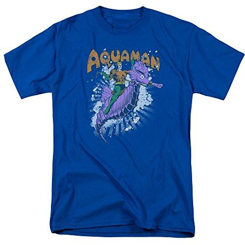 Trevco Los hombres de DC Aquaman Free Ride adulto Camiseta, azul real, S