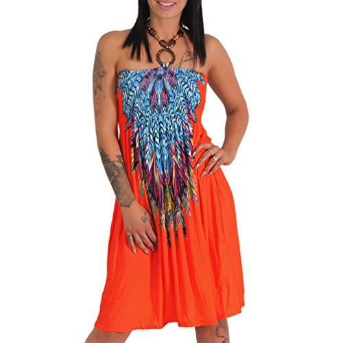 Neckholder Sommer Bandeau Kleid Holz-Perlen Damen Strandkleid Tuchkleid Tuch Aztec (1208 Orange)