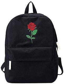 VHVCX Rucksack Frauen-Segeltuch-Rosen-Blumen-Stickerei-Studenten Teenager-Schule-Rucksack Reisetasche Schwarz Rucksack Mochila
