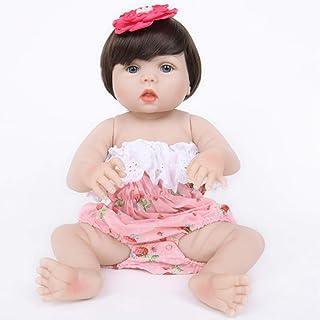 JTYX DOLLS 22 inches Simulation Baby Full Silicone Reborn Doll Blue Eyes Short Hair Cute Girl Realistic Doll Children Birthday Gift Toys Washable,Color1,55cm