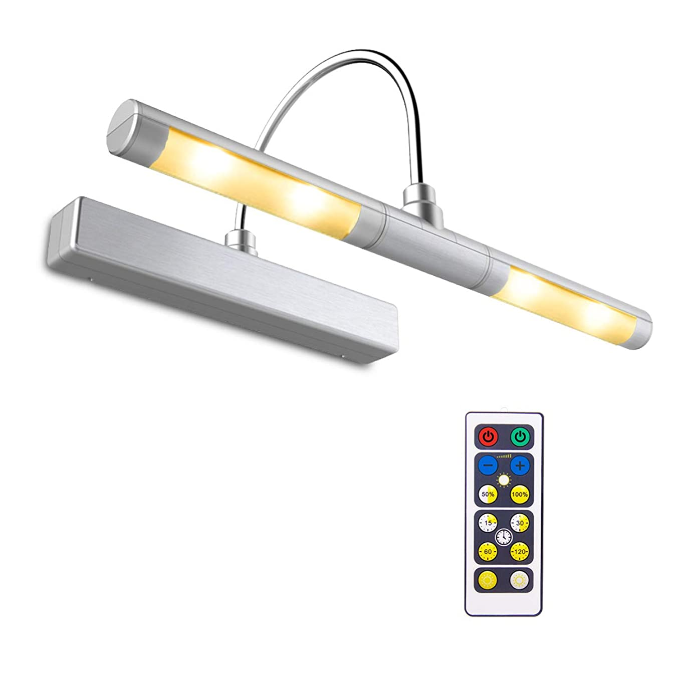 BIGLIGHT Wireless Battery Operated LED Picture Light with Timer & Dimmer, Rotatable Light Heads with 3 Lighting Modes, Remote Controlled Display Lamp for Picture Frame/ Painting/ Portrait/ Art, Silver