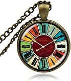 Collar Vintage Glass Owl Watch Reloj de bolsillo Cabujón Collar...
