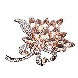 ZYUEER Damen Crystal Pin Brosche, zarte Bauhinia, Legierung Diamanten Broschen, Exquisit Valentinstag Vorhanden (Orange)