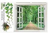 SODIAL (R) Riesige Fenster 3D-Blick ins Gruene Blumen