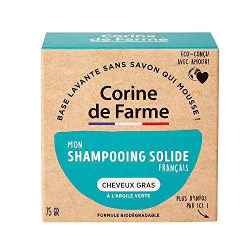 Corine de Farme   04097301 Shampoing Solide Cheveux Gras   Vegan - Formule Argile Verte Purifiante   Shampoing Biodégradable Fabriqué en France   Eco-conçu Et Zero Déchet