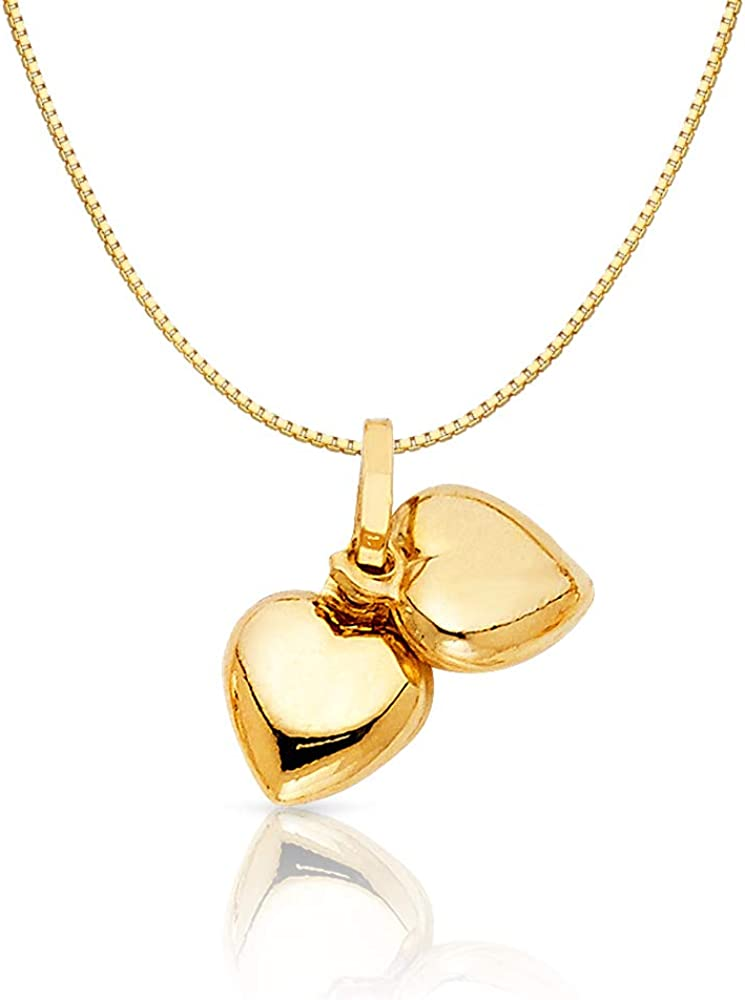 14K Yellow Gold Double Plain Heart Charm Pendant with 0.6mm Box Chain Necklace