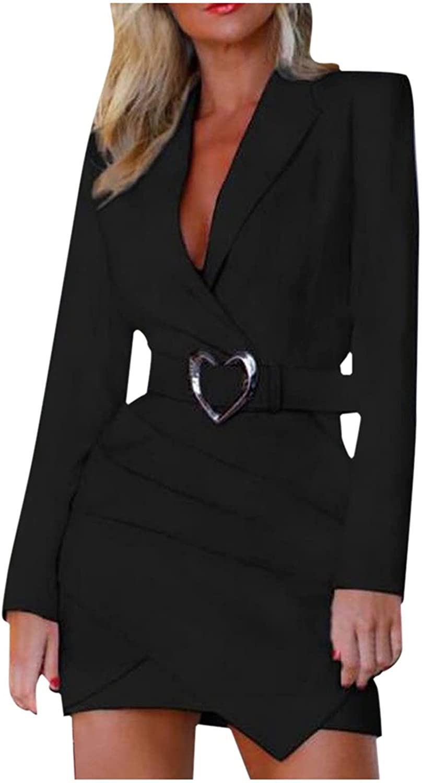 Kidyawn Women's Casual Dresses Solid Turn Down Neck Long Sleeve Irregular Folds Slim Professional Skirt Work Formal Dress
