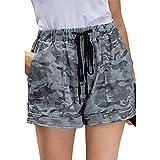 Qinvern Short Taille Haute pour Femme Léopard Homewear Cordon de Serrage Taille élastique Décontracté Décontracté Jambe Large 2XL