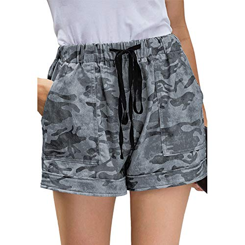 Bolsa de Papel para Mujer, Pantalones Cortos, Cintura Alta, Informal, Relajado, Estampado Floral, cordón,...