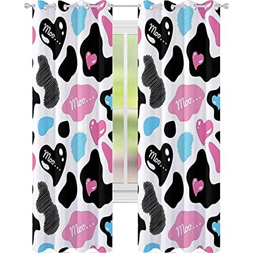 Cortinas opacas con diseño abstracto de Moo Barnyard Love Valentines de 108 x 84 pulgadas, cortinas opacas modernas para dormitorio, color rosa claro, negro y blanco