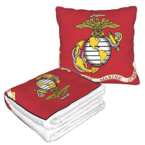 XCNGG Manta de Almohada de Viaje con la Bandera del Cuerpo de Marines de los Estados Unidos, Manta de Tiro 2 en 1 Bien viajada con Almohada de Felpa para el Cuello de avión de Transporte para Dormir