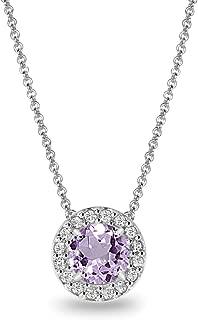 Sterling Silver Genuine or Simulated Gemstone & White Topaz Round Halo Slide Necklace