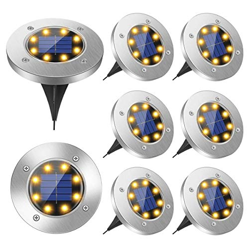 Solar Ground Lights, 8 Led Solar Garden Lights Outdoor,Disk Lights Waterproof In-Ground Outdoor Landscape Lighting for Lawn Patio Pathway Yard Deck Walkway Flood Light