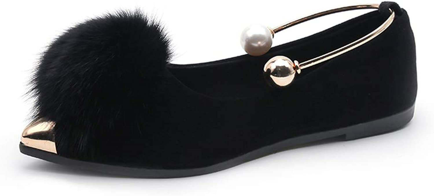 Kyle Walsh Pa Women Flats Bead Ankle Strap Loafers Faux Fur Slip on shoes gold Pointed Toe Boat shoes