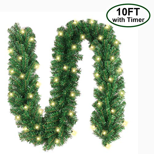 Christmas Garland with 40 LED Lights - Battery Powered Waterproof String Light with Timer - Pre-lit Outdoor Xmas Garland - 10 Foot by 10 Inch