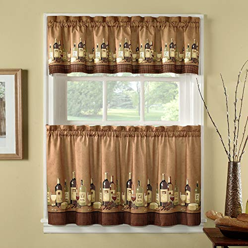CHF Wines Kitchen Curtain Set 36-inch Length, Multi