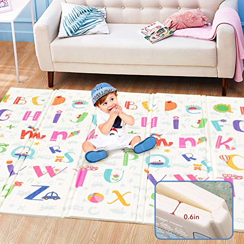 Foldable Baby Play Mat (79inx 71in),0.6in Extra Thick Non-Toxic Foam Floor Mat, Waterproof Extra Large Reversible Crawling Mat, Portable Folding Playmat for Baby Toddlers