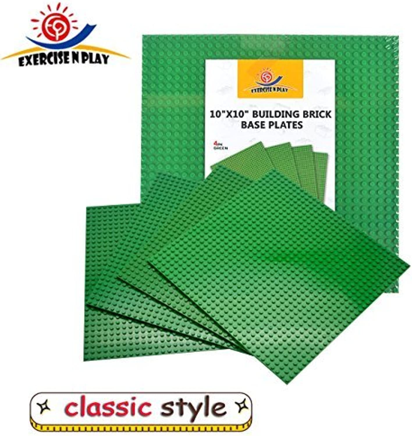 Green Building Brick Base Plates 4 Pack Compatible with all Major Brands
