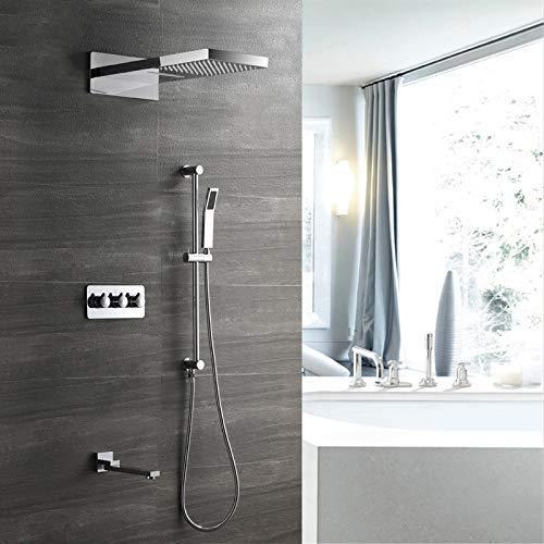 KANJJ-YU Oculta cuarto de baño fijada Cascada superior cuadrada de cobre 4 Función Embedded casete de spray con sistema de elevación del coche de carreras y fría de la mano de ducha con el grifo hermo