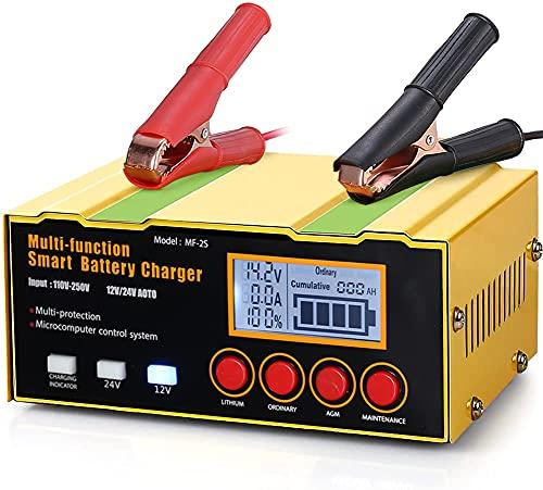 Ladegerät Autobatterie, 12A 12V/24V KFZ Batterieladegerät Vollautomatisches Ladegerät mit LCD-Bildschirm Batterieladegerät für Auto und Motorrad, Rasenmäher oder Boot
