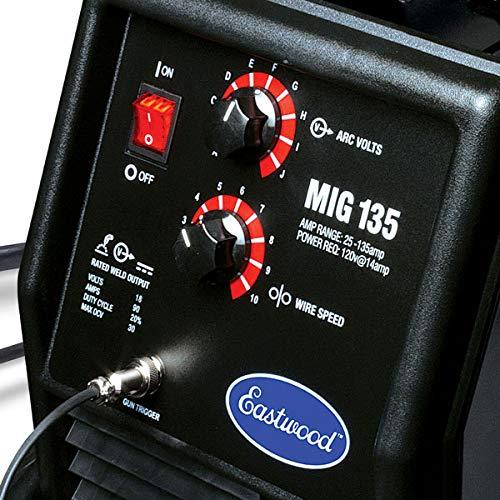 Eastwood MIG 135 Welder 12011 110VAC 135A Output Tweco Style Gun Flux Core Weld