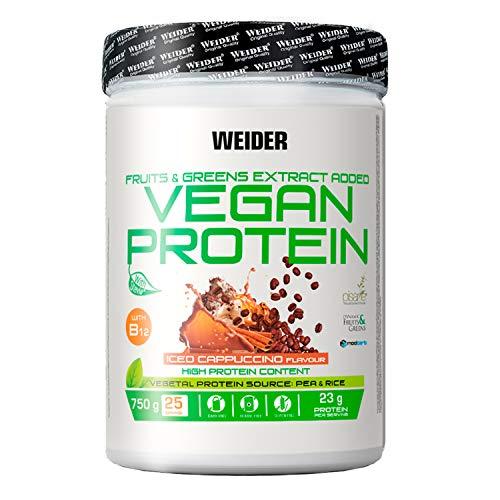Weider Vegan Protein Powder - Goût Cappuccino Glacé - protéines de pois et de riz - 100% vegan - sans gluten - sans lactose - sans huile de palme - 25 portions - 750g