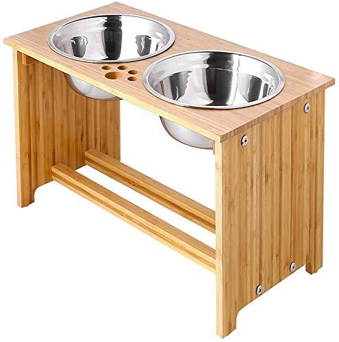FOREYY Cajones para Perros levantados para Gatos y Perros - Cajones de Comida y Agua para Gatos con elevaciones de bambú Soportes para alimentadores con 2 tazones de Acero Inoxidable(38 cm)