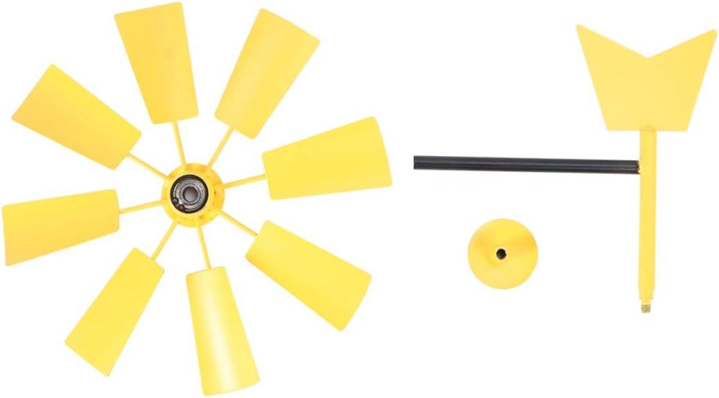 Hemoton Jard/ín Molino de Viento Estaca Iron Wind Spinner Outdoor Yard Art Decoration Metal Pinwheel Estaca Ornamento para Navidad C/ésped Decoraci/ón Amarillo