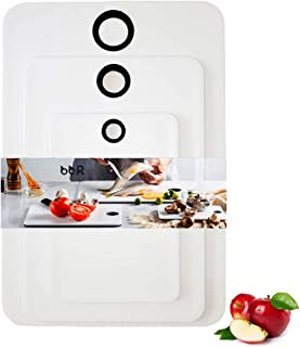 Bonniex Cutting Board (3-Piece) for kitchen, Durable Plastic Chopping Board, Utlitly Serving Board with Non-Slip Design, BPA-Free, Non-Porous, Dishwasher Safe
