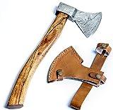 Fellmark Hacha de acero Damasco Retk con vaina de acero al carbono, hacha de madera para cortar madera con mango de palisandro, hacha de mano de acampar...