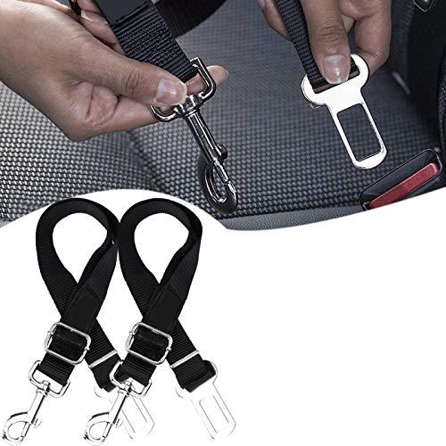 Cinturón de seguridad para mascotas, Arneses ajustables para coche para perros, Con fuerte clip de metal y capacidad de ajuste, Adecuado para perros de tamaño mediano, Perros Pequeños Black+black