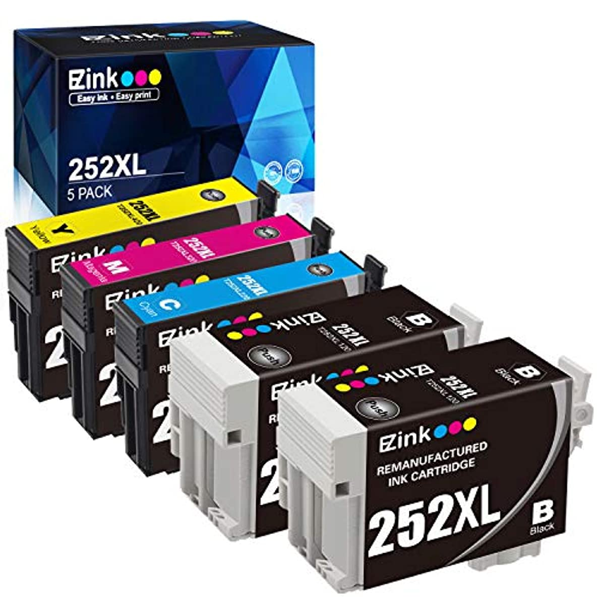 E-Z Ink (TM) Remanufactured Ink Cartridge Replacement for Epson 252XL 252 XL T252 T252XL120 to use with Workforce WF-3640 WF-3620 WF-7110 WF-7710 WF-7720 (2 Black, 1 Cyan, 1 Magenta, 1 Yellow) 5 Pack