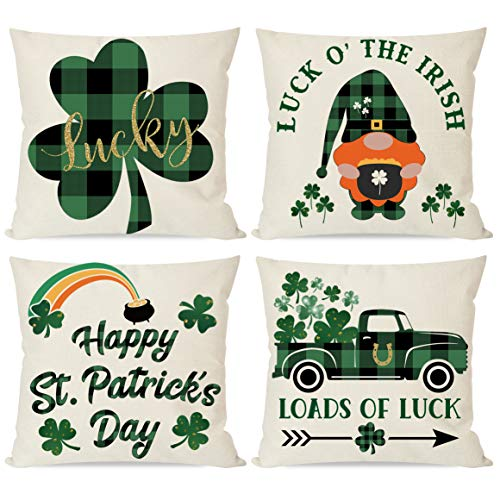 PANDICORN Set of 4 St Patricks Day Pillow Covers 18x18 for St Patricks Decorations St Patricks Pattys Day Green Buffalo Plaid Check Luck Shamrock Gnome St Patricks Home Decor Throw Pillow Cases
