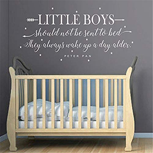 stickers muraux 3d paris Boys Room Wall Decal Quote - Little Boys Should Never Be Sent To Bed - Boys Room Vinyl Lettering With Arrows And Stars Decor Nursery Wall Decals