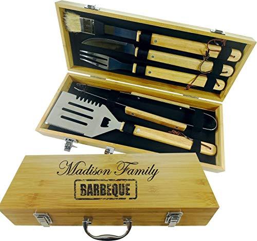 Personalisierte Grill Set. 5 Stück Grillbesteck Werkzeug Set. BBQ Grill-Tools Set Barbecue-Utensilien, Edelstahl BBQ Grillen Kochwerkzeug Kit Schaber, Pinsel, Fleischmesser, Spieße