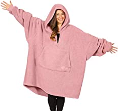 THE COMFY Teddy Bear Quarter Zip   Oversized All Sherpa Wearable Blanket with Zipper, One Size Fits All, Seen On Shark Tank, Blush