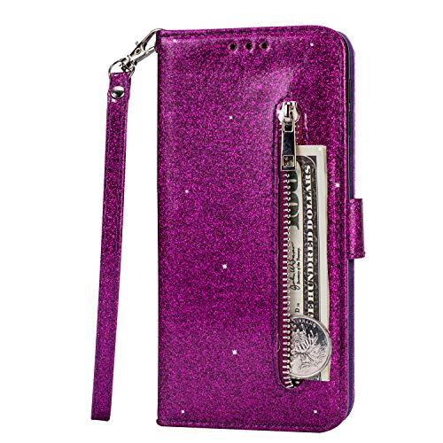 Yobby Glitzer Brieftasche Hülle für Samsung Galaxy A20E,Samsung Galaxy A20E Lila Handyhülle,Bling Slim Reißverschluss Leder Schutzhülle Flipcase [Stand-Funktion] mit Kartenfach und Handschlaufe