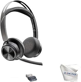 GTW Poly Voyager Focus 2 UC, auriculares estéreo Bluetooth, USB-C, se conecta a escritorio, PC/Mac, smartphone – Funciona con equipos, Zoom, RingCentral, 8 x 8, Vonage, microfibra adicional incluida
