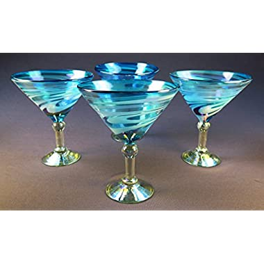 Martini Glasses, Hand Blown, Turquoise White Swirl 14 Oz (Set of 4)