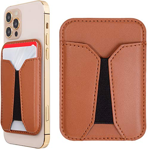 iPhone 12/12 Mini/12 Pro/12 Pro Max Magnetic Leather Wallet with MagSafe, RFID Card Holder Wallet, Max 4 Cards, Brown