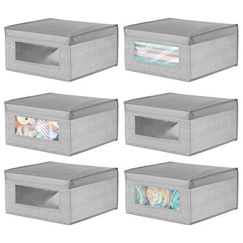mDesign - Opbergdoos in 6-delige set - kledingkastorganizer/opbergbox - gemiddeld formaat/zacht - nette vierkante bergruimte voor een opgeruimd huis - stof - grijs visgraatpatroon