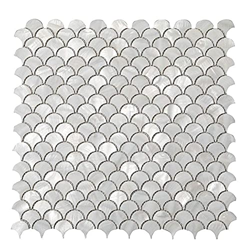 Soulscrafts 10 Pack White Mother of Pearl Fish Scale Mosaic Oyster Tile Sheets Kitchen backsplash