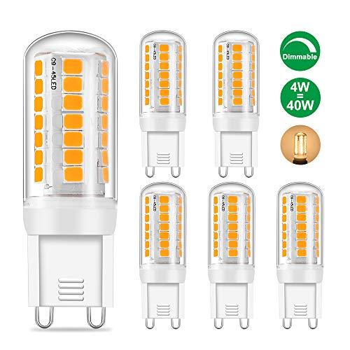 G9 LED Dimmbar Lampen Warmweiss 4W Birne, Ersetzt 40W Halogenlampe, 360lm, 3000K, AC 220 - 240V, flimmerfrei, G9 Warmweiß Kapsel Lampe für Kristalldeckenleuchten, 5er Pack