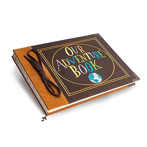 t-haohua nuestra aventura libro álbum de fotos Scrapbook: aniversario y boda libro de recuerdos con bordado piel carcasa rígida–thread-bound libro con de grosor blanco papel de lija para fotografías