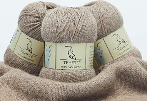 TEHETE Ovillo de lana, 100% Cachemira Hilo 3 Bolas x 50g, para manta, suéter calcetín, bufanda, diy, ganchillo y tejido(Marrón)