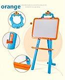 CUTEY Kinder-Staffelei für 2 Doppelseitiger mit Einstellbarer Höhe, Stehen Art Staffelei mit Magnettafel und Tafel, Malerei Staffelei für Kinder & Kleinkinder, große Geschenke,Orange -