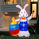 6FT Easter Inflatable Bunny with Egg - Cute Fun Holiday Blow up Party Decorations for Indoor Outdoor Yard with LED Lights