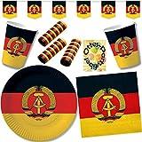 HHO Nostalgie Ostalgie DDR Party-Set 64tlg. für 20 Gäste : Becher Teller Servietten Wimpel Luftschlangen