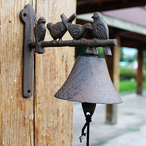 Rústico de Hierro Fundido Timbre para pájaros, Campana Decorada para Puerta